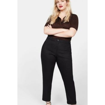 Women Black Straight Cut Linen Trousers 51000633