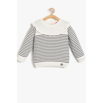 Black Baby Girl Striped Sweater 9KMG99147HT
