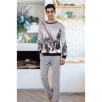 Men's Gray Pajamas Suit 5466