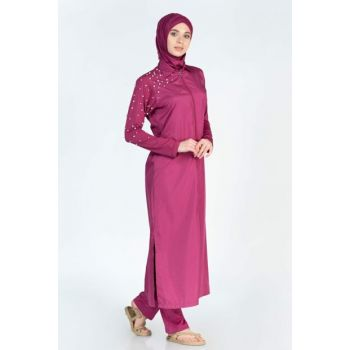 Women's Plum Long Sleeve Pants Pearl Detailed Full Covered Hijab Swimwear TALF19SSMYO008-238
