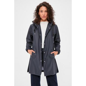 Navy Blue Faux Leather Hooded Raincoat TWOAW20MO0073