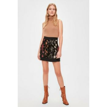 Black Patterned Skirt TWOAW20ET0532