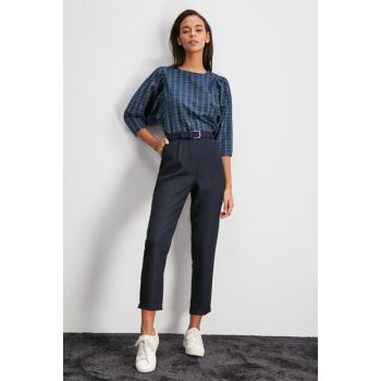 Navy Blue Pleated Detailed Trousers TWOAW20PL0541