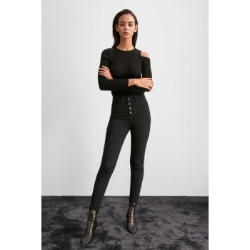 Anthracite Front Button High Waist Jegging TWOAW20JE0444