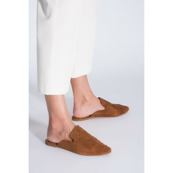 Genuine Leather Taba Women Slippers 01TEH103540A370