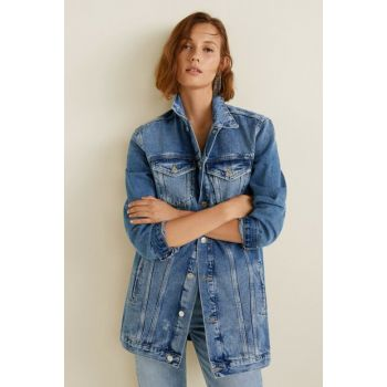 Women's Mid Denim Wide Cut Jeans Jacket 33013055