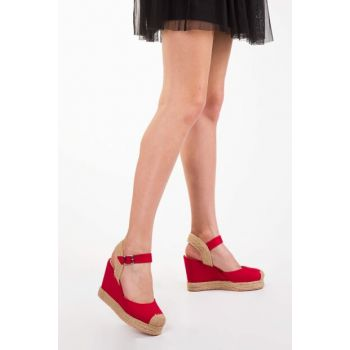 Red Suede Women's Wedge Heeled Shoes 12905