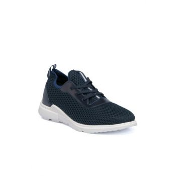 Navy Blue Textile Men's Shoes-54313I49 E19I1AY54313