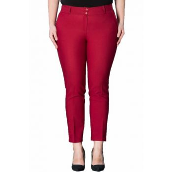 Women Burgundy Wrist Length Pants PT2136