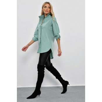 Women's Hidden Buttoned Long Shirt SF2001