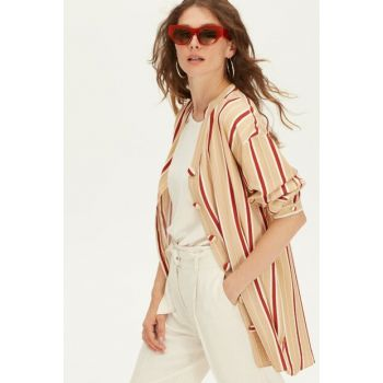 Women's Camel Feather Striped Shirt 9WK900Z8