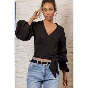Women's Black Katkat Balloon Sleeve Double Breasted Blouse ALC-Y2886