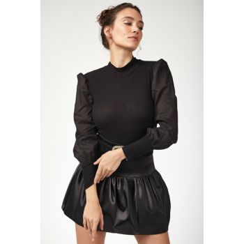 Women Black Balloon Sleeve Sweater Blouse BL00061