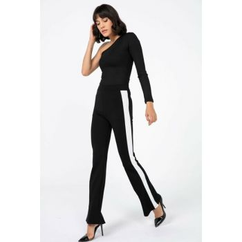 Women Black Ecru So Striped Spanish Trotter Lycra Pants S-20K3500018