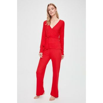 Red Double Breasted Collar Waist Tie Pajama Set THMAW20PT0258