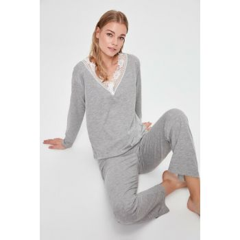 Gray Collar Lace Detailed Pajama Set THMAW20PT0210