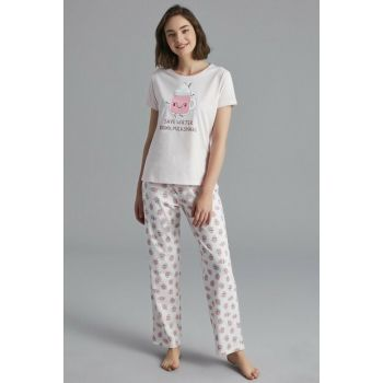 Women's Light Pink Milkshake Pajamas Set PNIUHYRO19SK-ACP