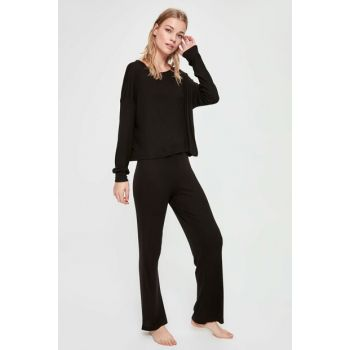Black Fit Knitted Blouse Pants Pajama Set THMAW20PT0056 THMAW20PT0054
