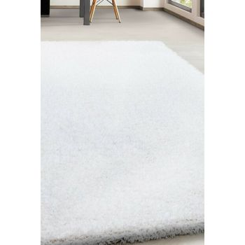 Supersoft Shaggy Carpet 5cm Fluff height plain White colored 120x170cm ANCONA1201709000CREAM