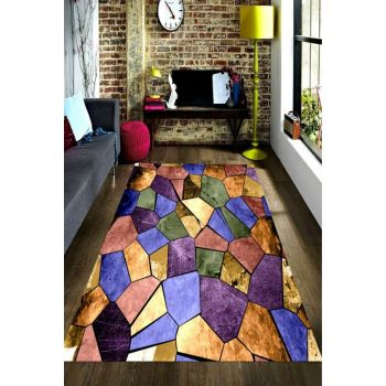 Shiny Cracked Stone Patterned Digital Printed Carpet RSP001600