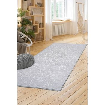 100X350 Carpet Elite Gray Non Slip Sole Washable Cut Runner ElitGray-100X350