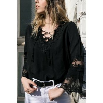Women's Black Lace Detailed Blouse 9KXK2-42261-02