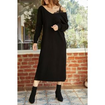 Women's Black One Shoulder Lace Detailed Slit Dress 9YXK6-41941-02