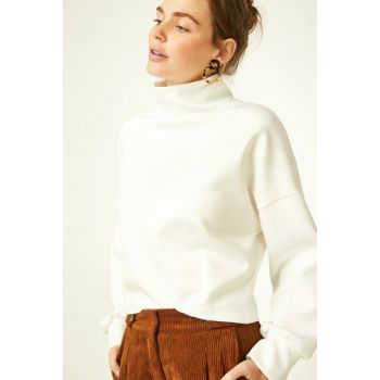 Women's White Turtleneck Scuba Crop Blouse FN01749