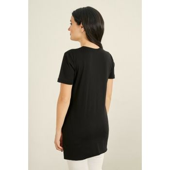 Side Long Slit Tshirt - BLACK 20KTS333K101