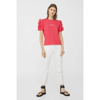 Women's Red Ruffle Detail T-Shirt 83007648
