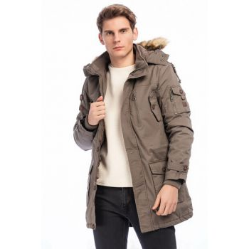 Men's Sand Removable Faux Fur Detail Hooded Plush Lined Coat 2475
