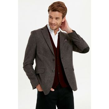 Men's Burgundy Blazer Jacket 9W6148Z8