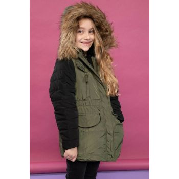 Khaki Young Girl Faux Fur Detailed Hooded Color Block Parka I9792A6.18WN.KH211