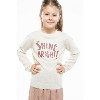 Ecru Girl Children Sequin Letter Printed Sweater Pullover I7417A6.18AU.ER104