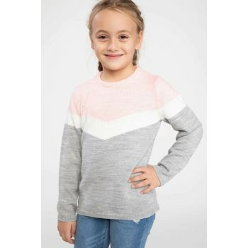 Gray Color Blocked Sweater Pullover K0278A6.18WN.GR85