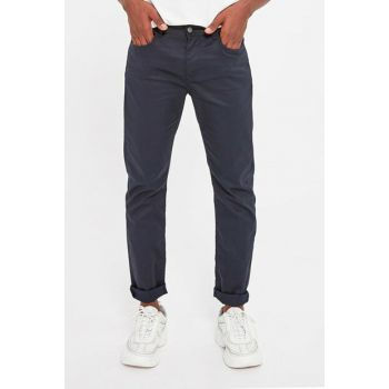 Navy Blue Men's 5 Pocket Coated Slim Fit Jeans TMNAW20PL0066