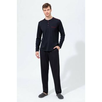 Men's Black O Patterned Long Sleeve Pajama Set E0219K0019