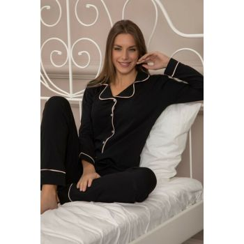 Women's Black-Pink Cotton Lycra Buttoned Pajama Set 7314