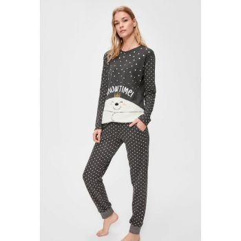 Black Polka Dot Snow Pajamas Set THMAW20PT0150 THMAW20PT0148