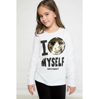 White Girl Kid Smiley Figure Printed Long Sleeve T-Shirt K0450A6.18AU.WT34