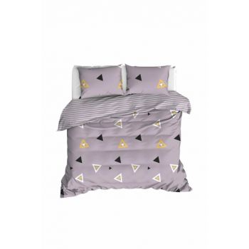 100% Natural Cotton Double Duvet Cover Set Erois Lilac Ep-020234