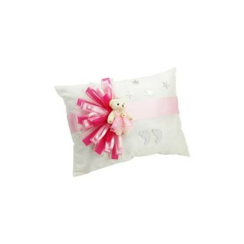 Plush Teddy Bear Rectangle Ornate Name Baby Jewelry Pillow Pink TYB1441