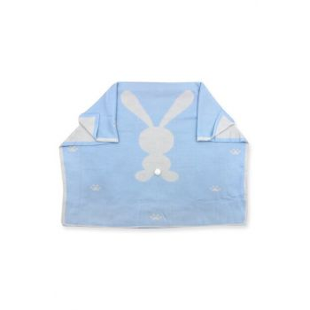 Pompon Rabbit Double Sided Blue Sweater Baby Blanket 2966 2966BM