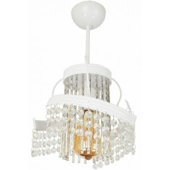 Saren Single Case White Chandelier with Stone 901 0477 27 016