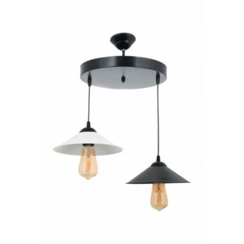 Style Retro Modern Black White Round 2-Piece Chandelier 0234