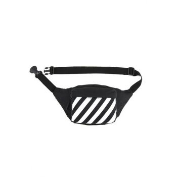 Black Unisex Waist Bag 9682-Black Striped 9682-BLACK LINE