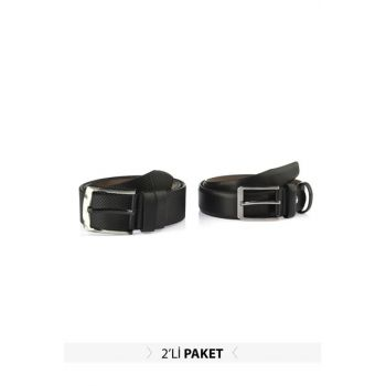 Black Men's Artificial Leather Belt TMNAW20KE0027
