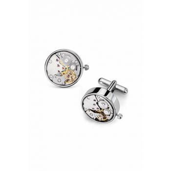 Men's Silver Watch Mechanism Circle Cufflink Abcjp268 ABCJP268