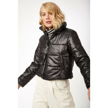 Women Black Upright Collar Inflatable Coat MK00117