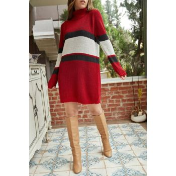 Women's Red Turtleneck Striped Sweater Dress 9KXK6-42248-04